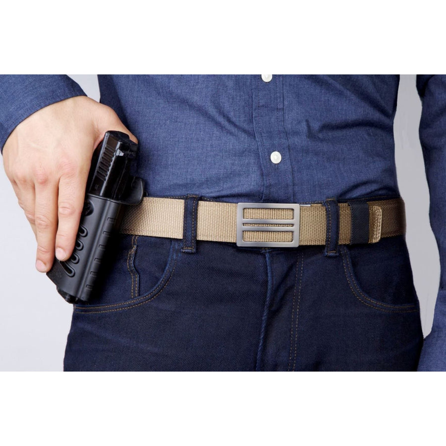 Kore X1 Gun Buckle with Tan Tactical gun belt.  Concealed Carry EDC Belt. Ratchet buckle with no holes track belt for men.