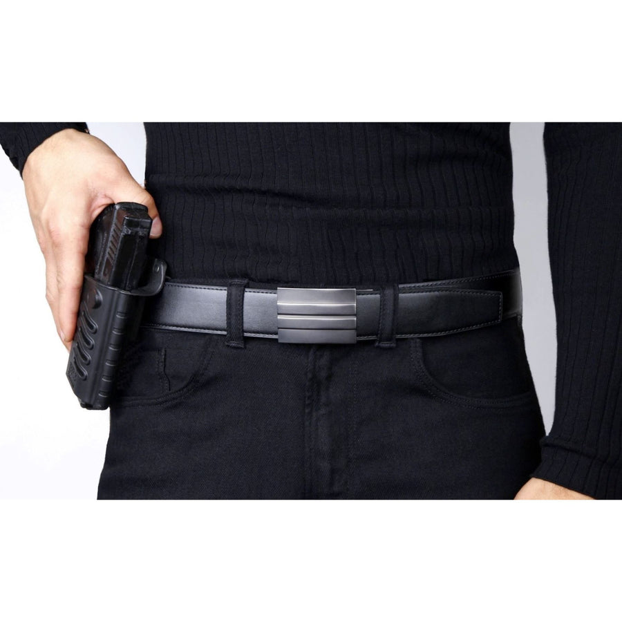 Kore X2 Gun Buckle with Black reinforced belt.  Ratchet buckle with no holes track belt for concealed carry edc.
