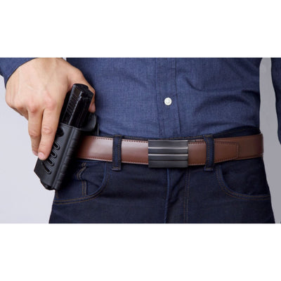 X2 Buckle & Reinforced Brown Top-Grain Leather Gun Belt by Kore Essentials.  The best-fitting CCW belt you will ever wear.