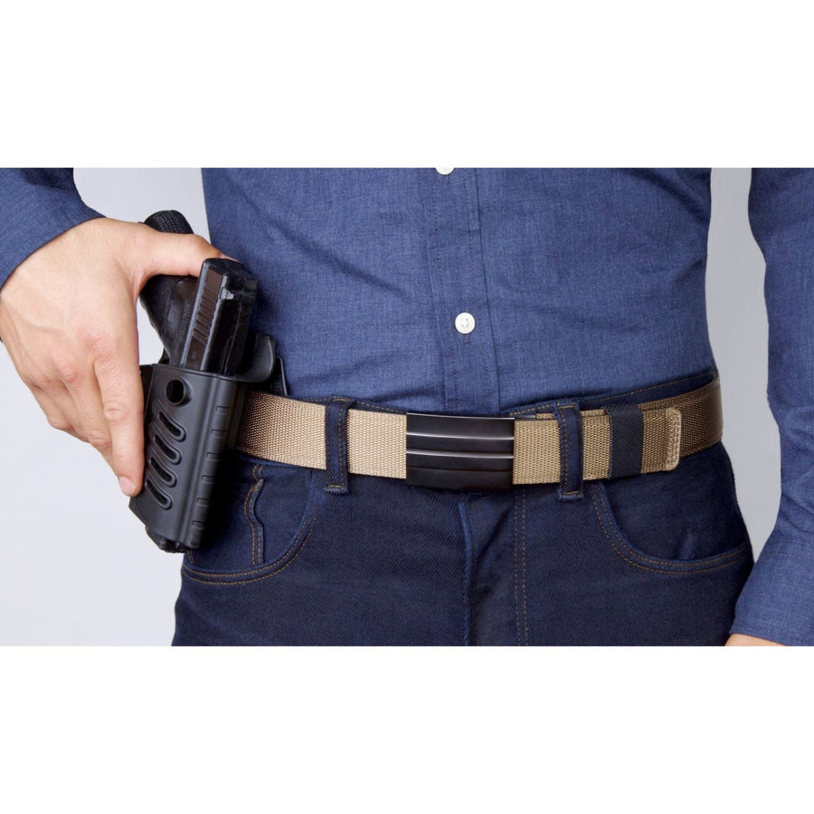 Kore X2 Gun Buckle with Tan Tactical gun belt.  Concealed carry ratchet buckle with no holes track belt for edc.