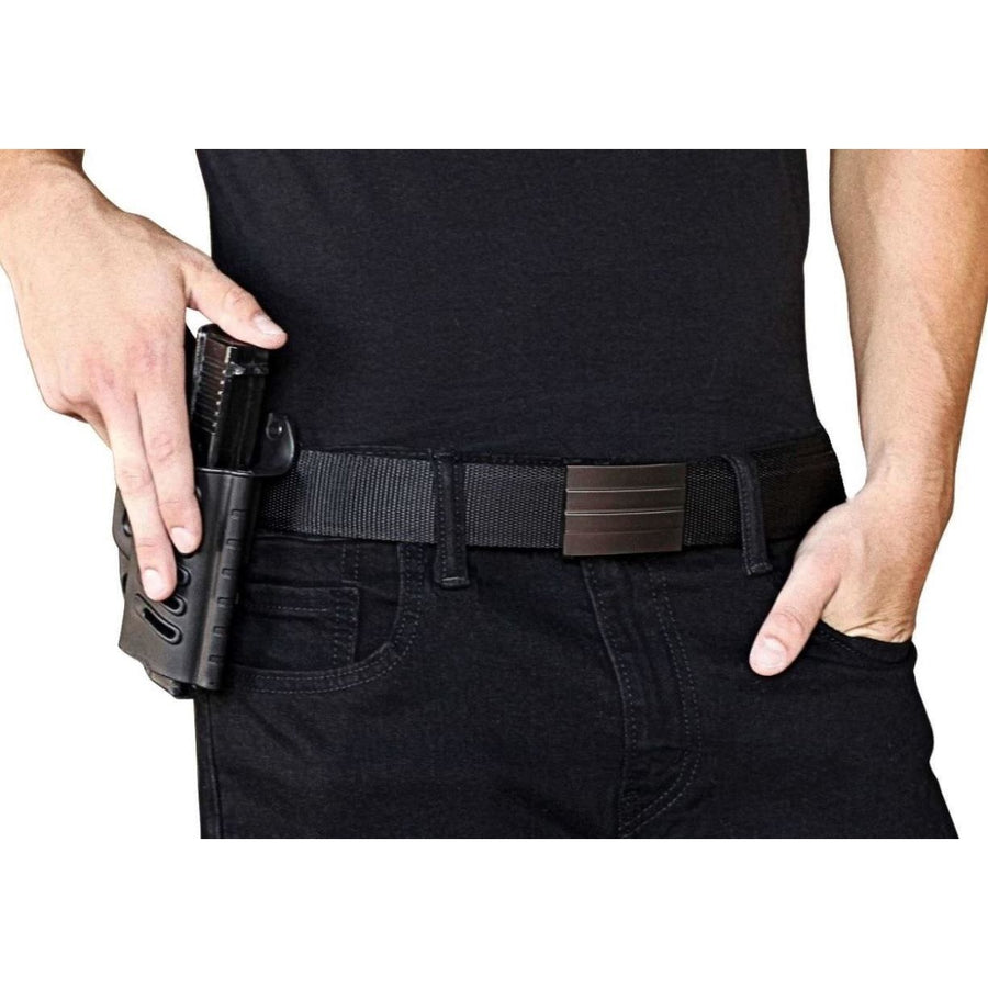 Kore X2 Gun Buckle with Black Tactical gun belt.  Concealed carry ratchet buckle with no holes track belt for edc.