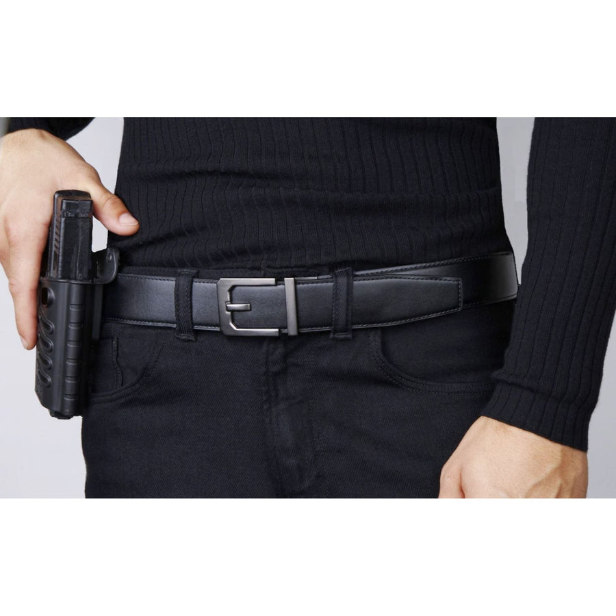 Kore X3 Gun Buckle with Black reinforced leather gun belt.  Ratchet buckle with no holes track belt for concealed carry edc.