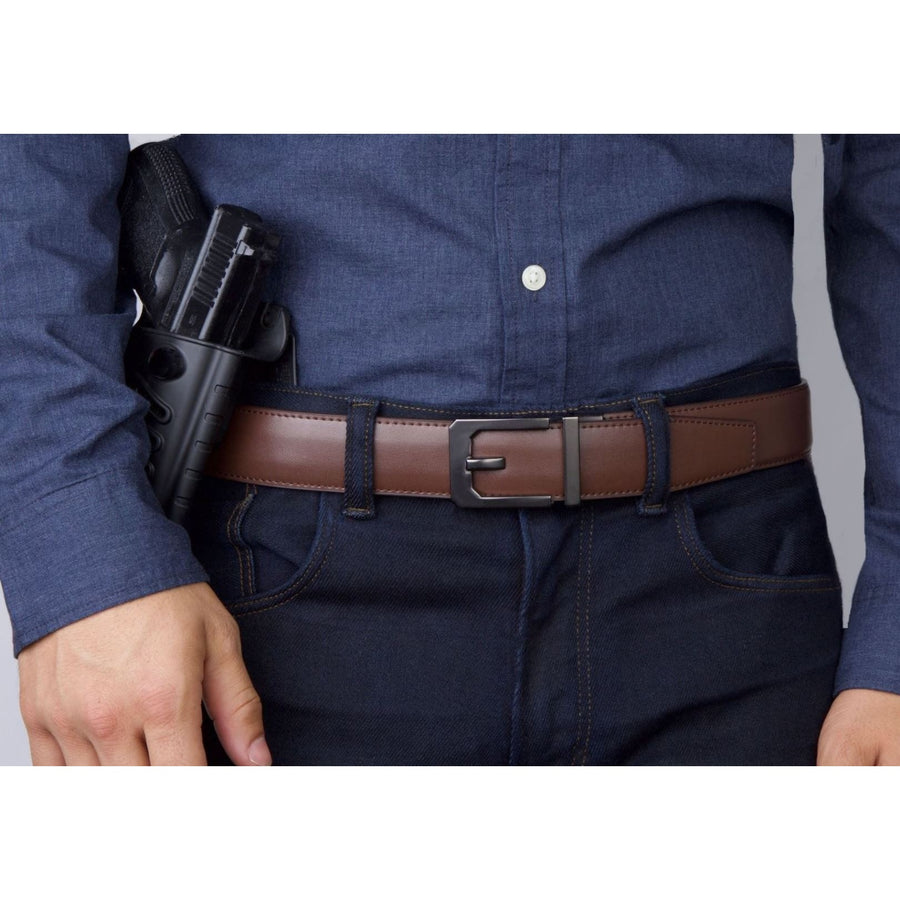 Kore X3 Brown Top-Grain Leather Concealed Carry Gun Belt. No-hole, reinforced holster belts for firearms.