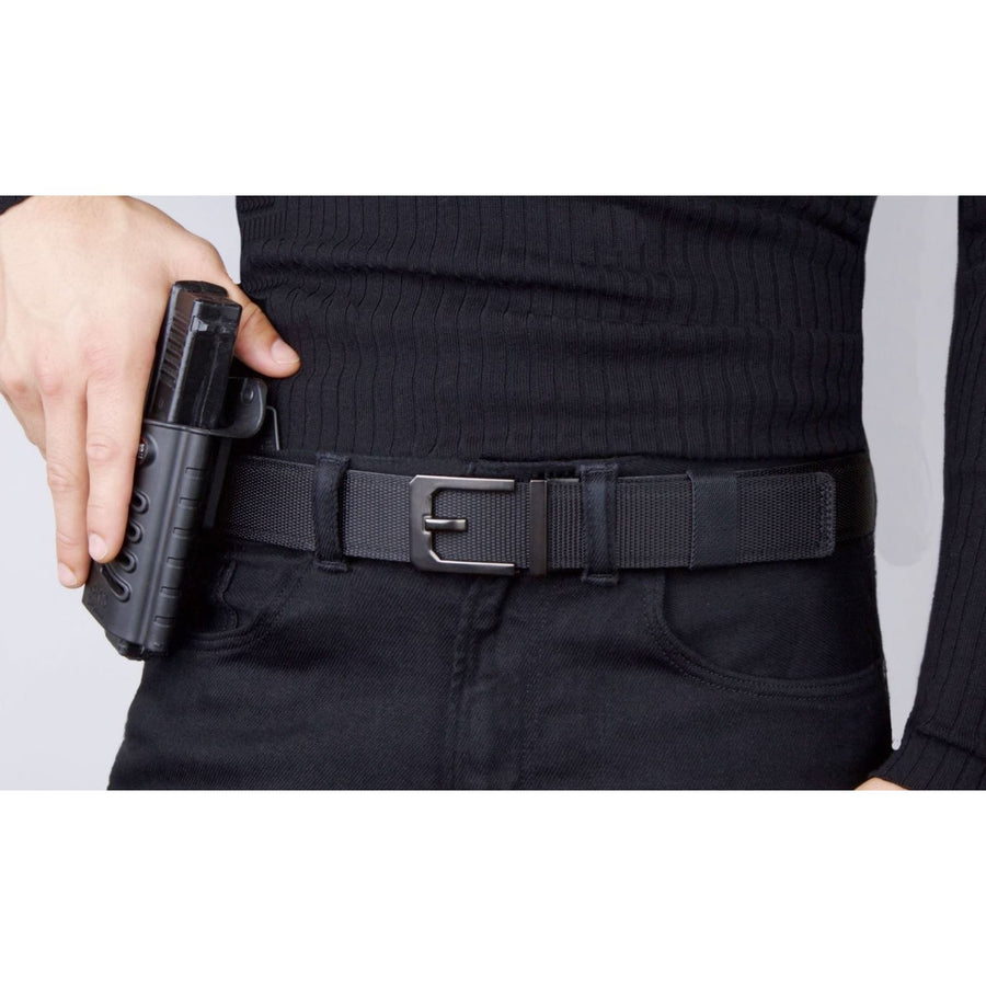 Kore X3 EDC Gun Buckle with Black Tactical gun belt.  Automatic ratchet CCW belt no holes.