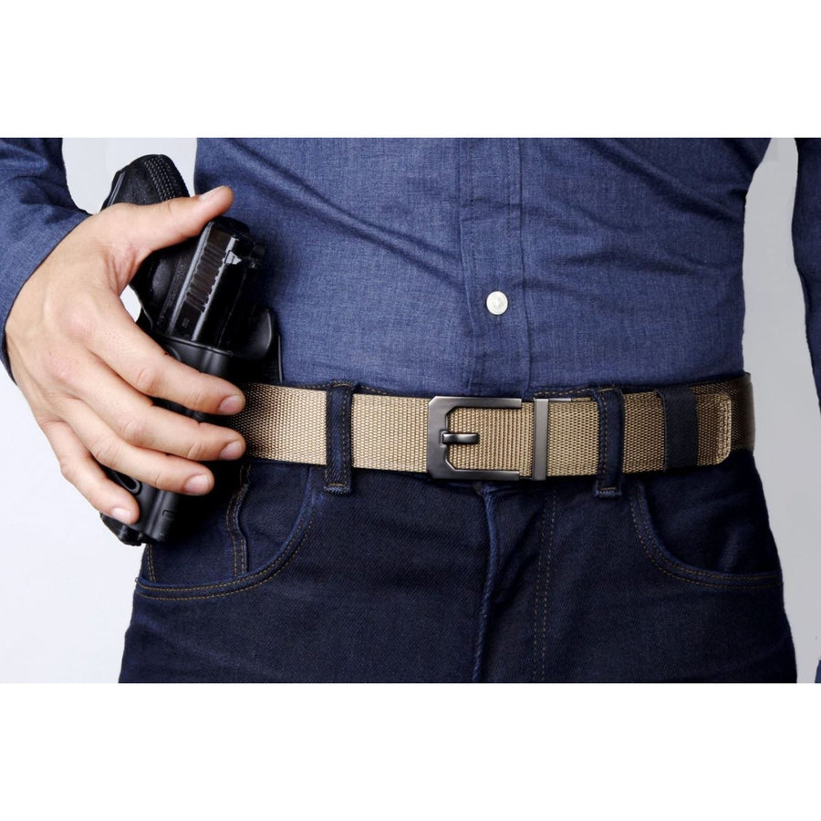 Kore X3 EDC Gun Buckle with Tan Tactical gun belt.  Automatic ratchet CCW belt no holes.