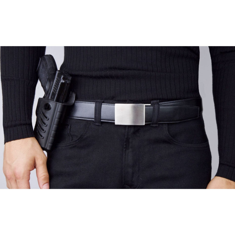 Kore X4 Stainless Steel Gun Buckle with Black reinforced belt.  Ratchet buckle with no holes track belt for concealed carry edc and ccw.