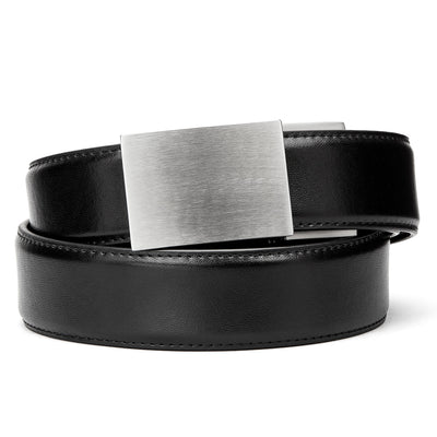 Kore X4 Stainless Steel Gun Buckle with Black Reinforced Top-Grain leather belt.  Ratchet buckle with no holes track belt for concealed carry edc and ccw.