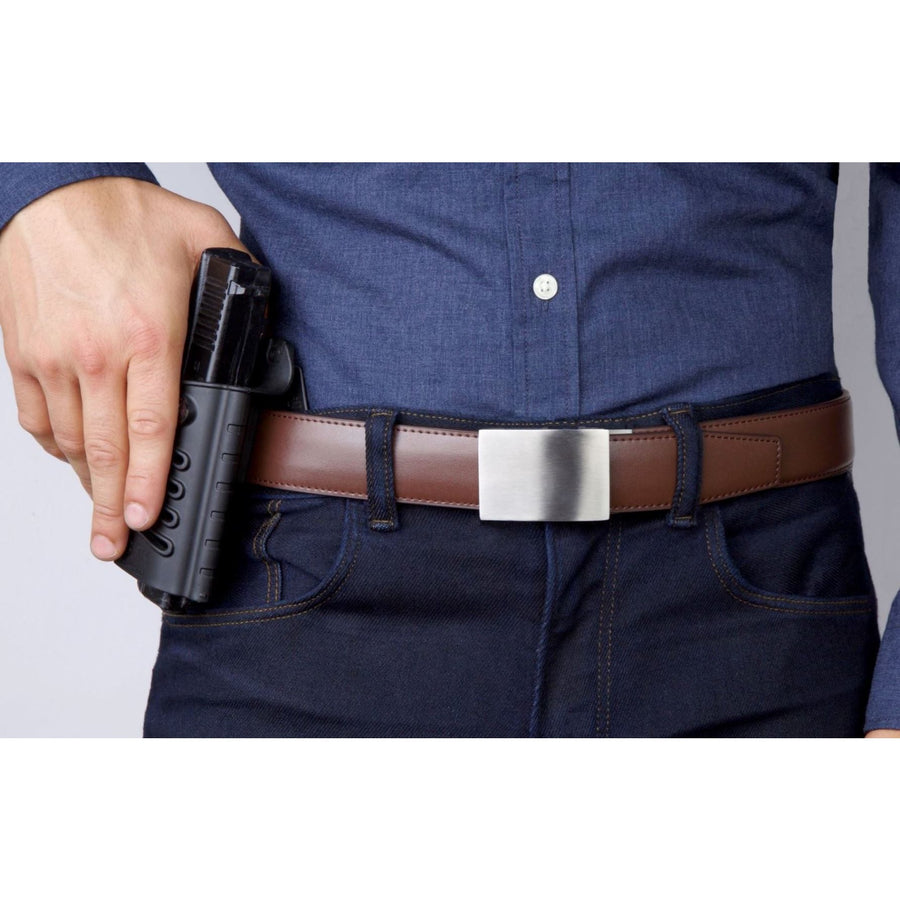 Kore X4 Stainless Steel Gun Buckle with Brown Top Grain Reinforced Leather belt.  Ratchet buckle with no holes track belt for concealed carry edc and ccw.