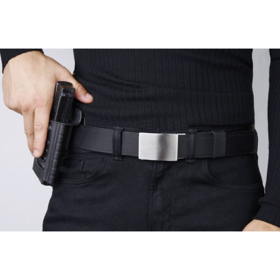 Kore X4 Solid Stainless Steel Gun Buckle with Black Tactical gun belt.  Track belt for Concealed Carry and EDC from Kore Essentials.
