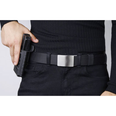 X4 Buckle & Black Tactical Gun Belt by Kore Essentials.  The best-fitting CCW belt you will ever wear.