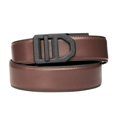 Kore X5 Gun Buckle & Brown Reinforced Top-Grain Leather belt.  Ratchet buckle with no holes track belt for concealed carry edc.