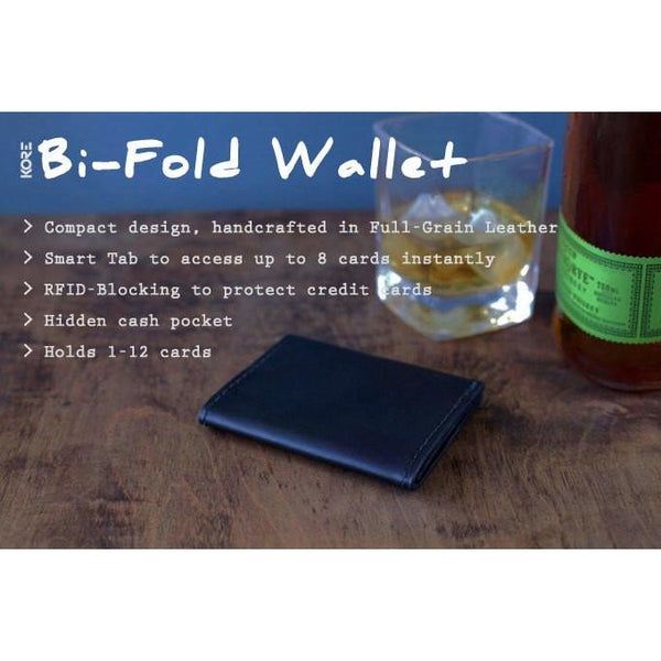 Kore Bi-Fold Slim Wallet features full-grain leather and RFID blocking interior to protect your credit cards