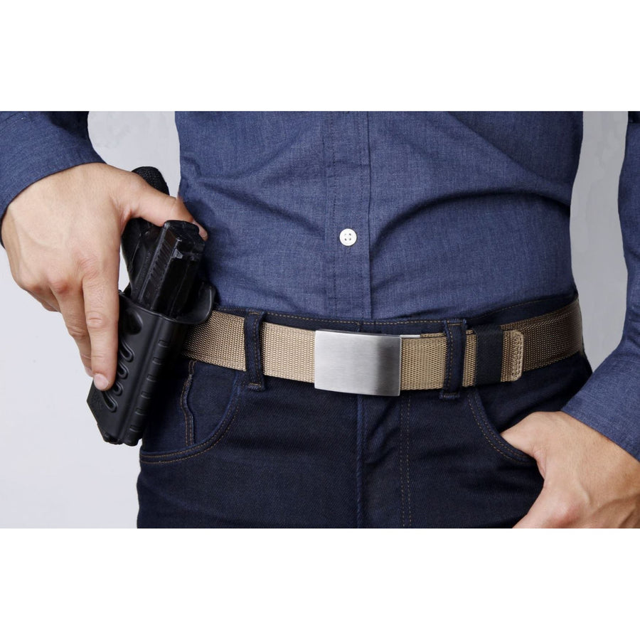 Kore X4 Solid Stainless Steel Gun Buckle & Tan Tactical gun belt.  Track belt for Concealed Carry and EDC from Kore Essentials.