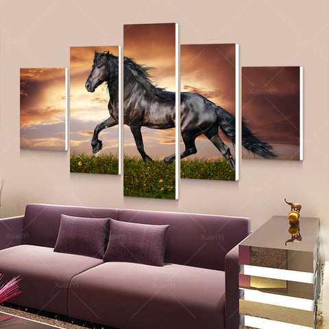5 Panel Modern Printed Large Horse Painting Picture Cuadros Landscape Canvas Wall Art  No Frame