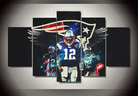 5 piece Tom Brady Wall Art
