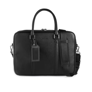 Black Saffiano Briefcase (Large) - ZETTINO