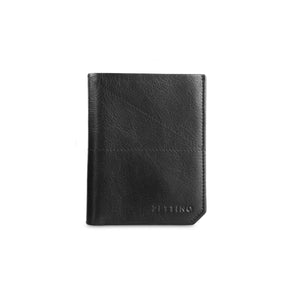 Black Vertical Shrunken Wallet - ZETTINO