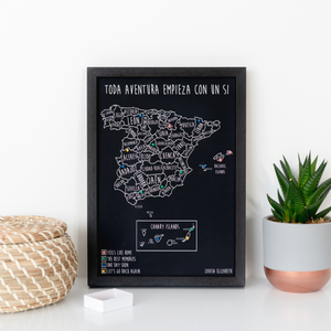 Personalised Spain Bin Board Map