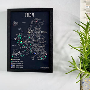 Personalised Europe Pin Board Map (NEW)