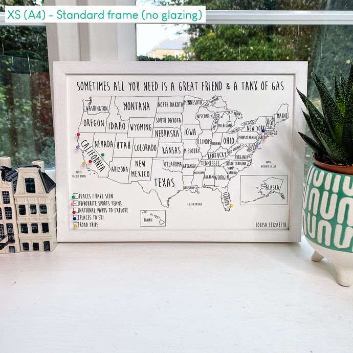 Personalised USA Pin Board Map (NEW)