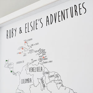 Personalised South America Pin Board Map