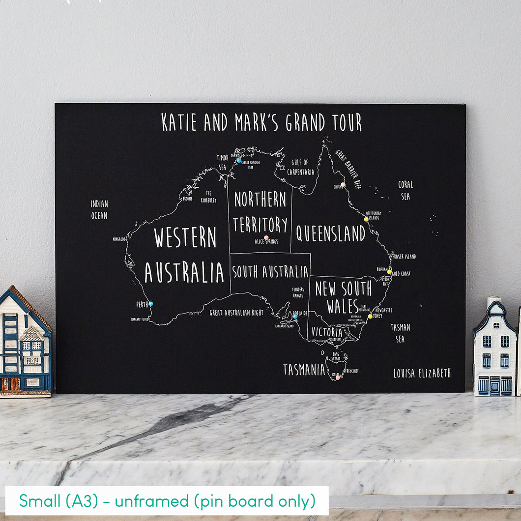 Personalised Australia Pin Board Map