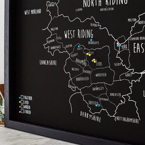 Personalised Yorkshire Pin Board Map (NEW)