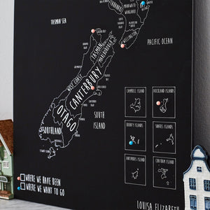 Personalised New Zealand Pin Board Map (NEW)