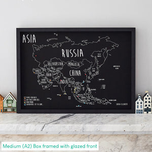 Personalised Asia Pin Board Map