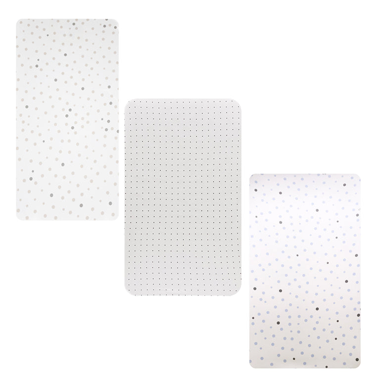 3 PACK Cot Fitted Sheet: BEIGE & GREY SPOTS, WHITE WITH BLACK DOTS & PALE BLUE & GREY SPOTS
