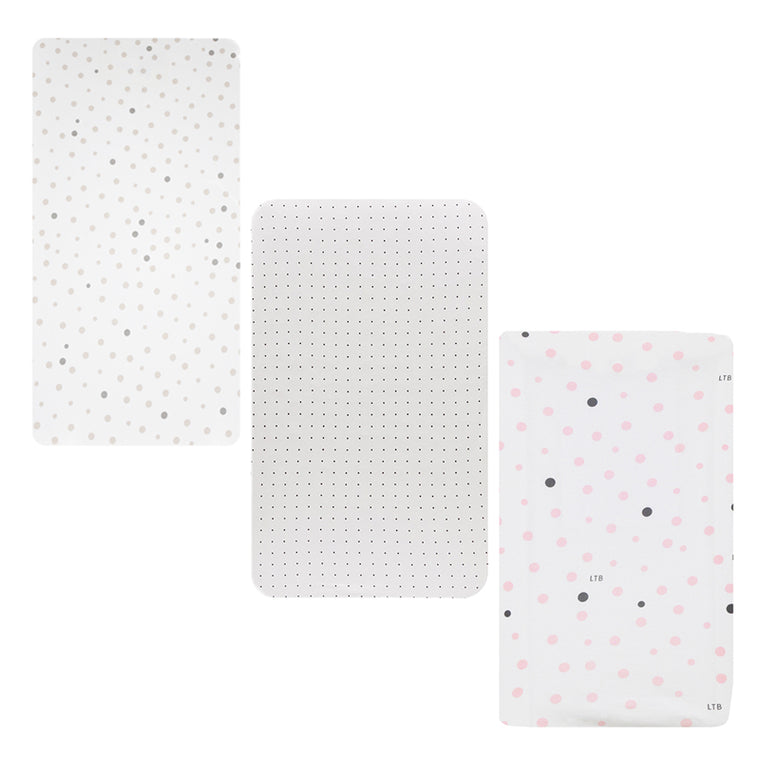 3 PACK Cot Fitted Sheet: BEIGE & GREY SPOTS, WHITE WITH BLACK DOTS & PINK & GREY SPOTS