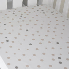 Cot Fitted Sheet Woven Cotton: BEIGE & GREY SPOTS - Little Turtle Baby