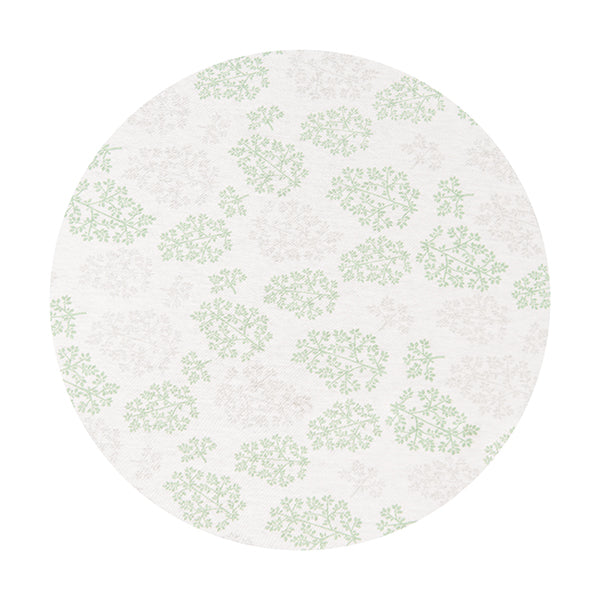 CIRCLE Bassinet Fitted Sheet (JERSEY): GREEN & GREY LEAVES