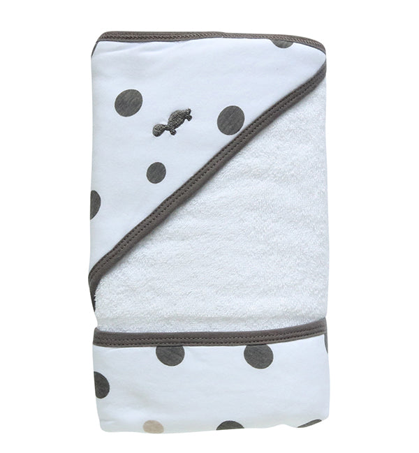 Hooded Towel - GREY & BEIGE SPOTS