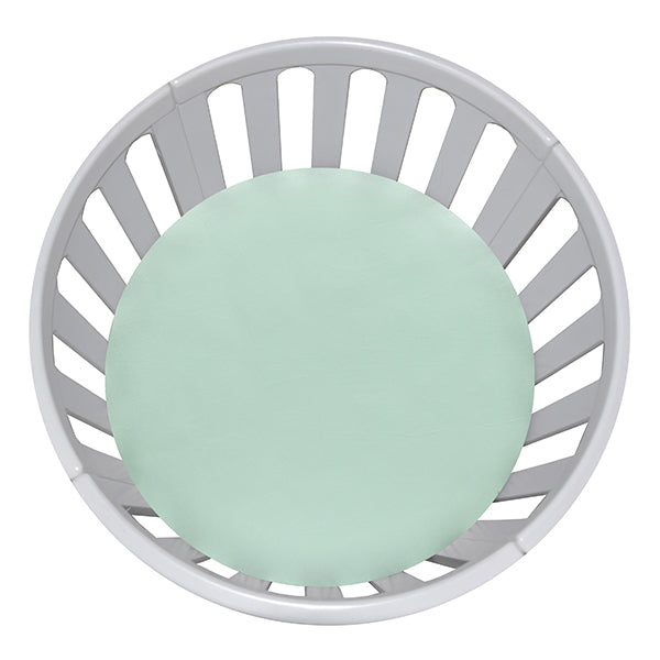 CIRCLE Bassinet Fitted Sheet Woven Cotton: MINT