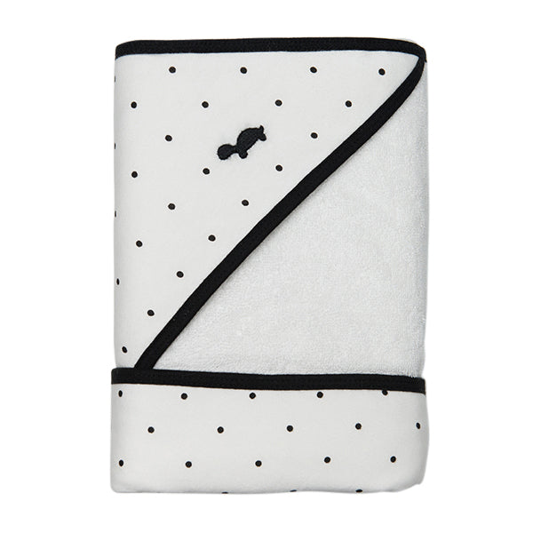 Hooded Towel - WHITE WITH BLACK DOTS