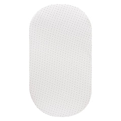 OVAL Cot Fitted Sheet Jersey Cotton: WHITE WITH BLACK DOTS