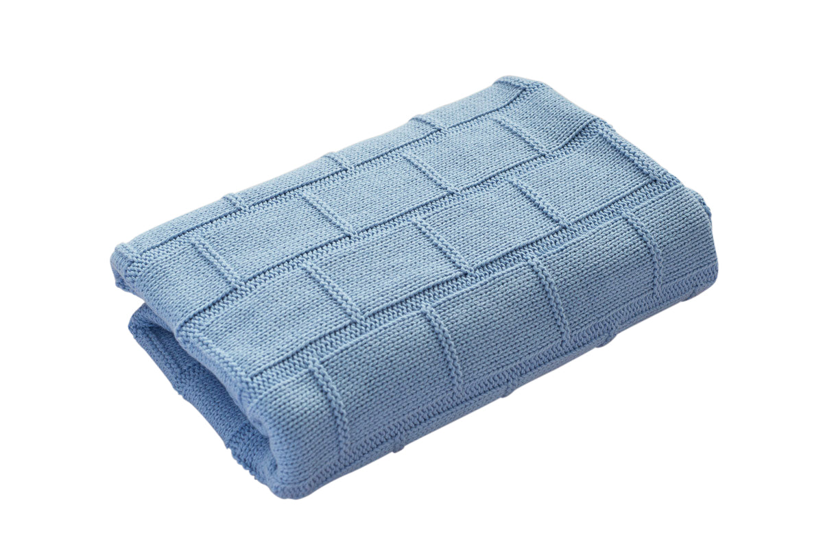 Organic Cotton Baby Blanket - BABY BLUE