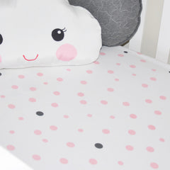 Cot Fitted Sheet Woven Cotton: PALE PINK & GREY SPOTS - Little Turtle Baby