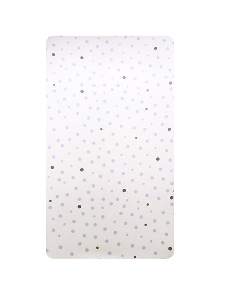 Cot Fitted Sheet Woven Cotton: PALE BLUE & GREY SPOTS