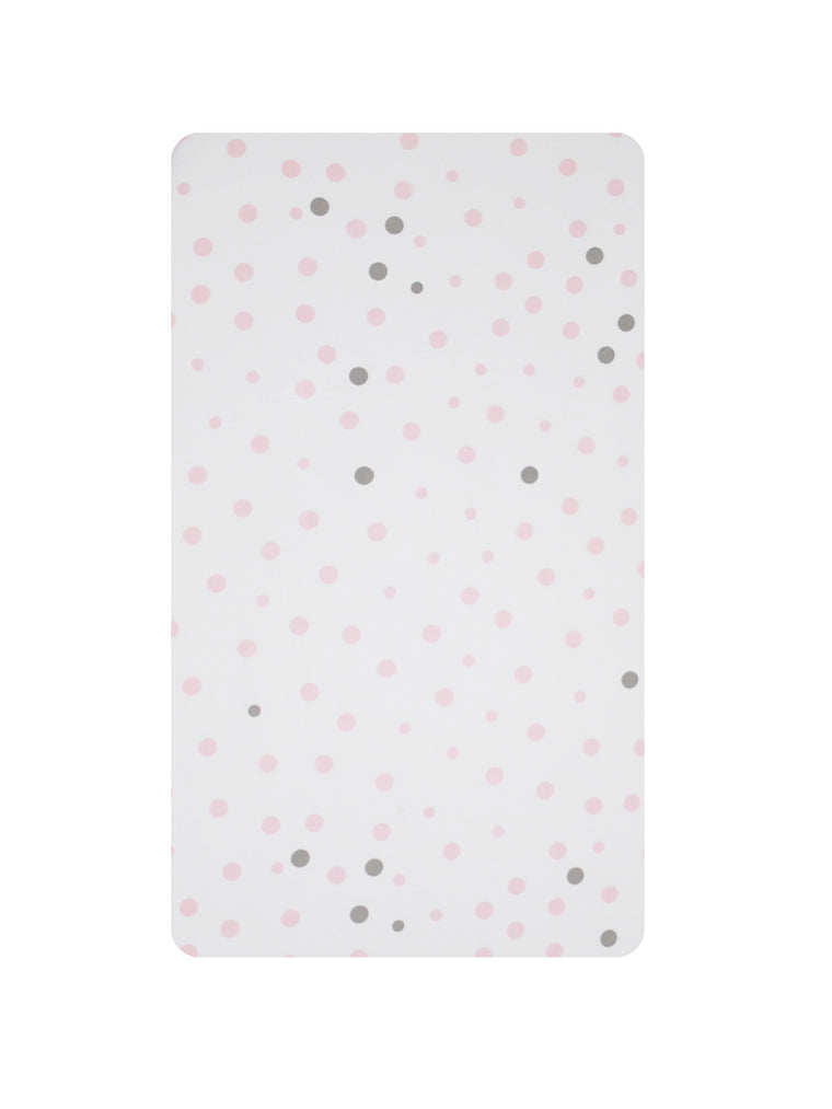 Cot Fitted Sheet Woven Cotton: PALE PINK & GREY SPOTS