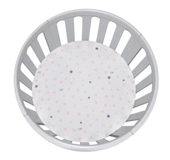 CIRCLE Bassinet Fitted Sheet Woven Cotton: PALE PINK & GREY SPOTS - Little Turtle Baby
