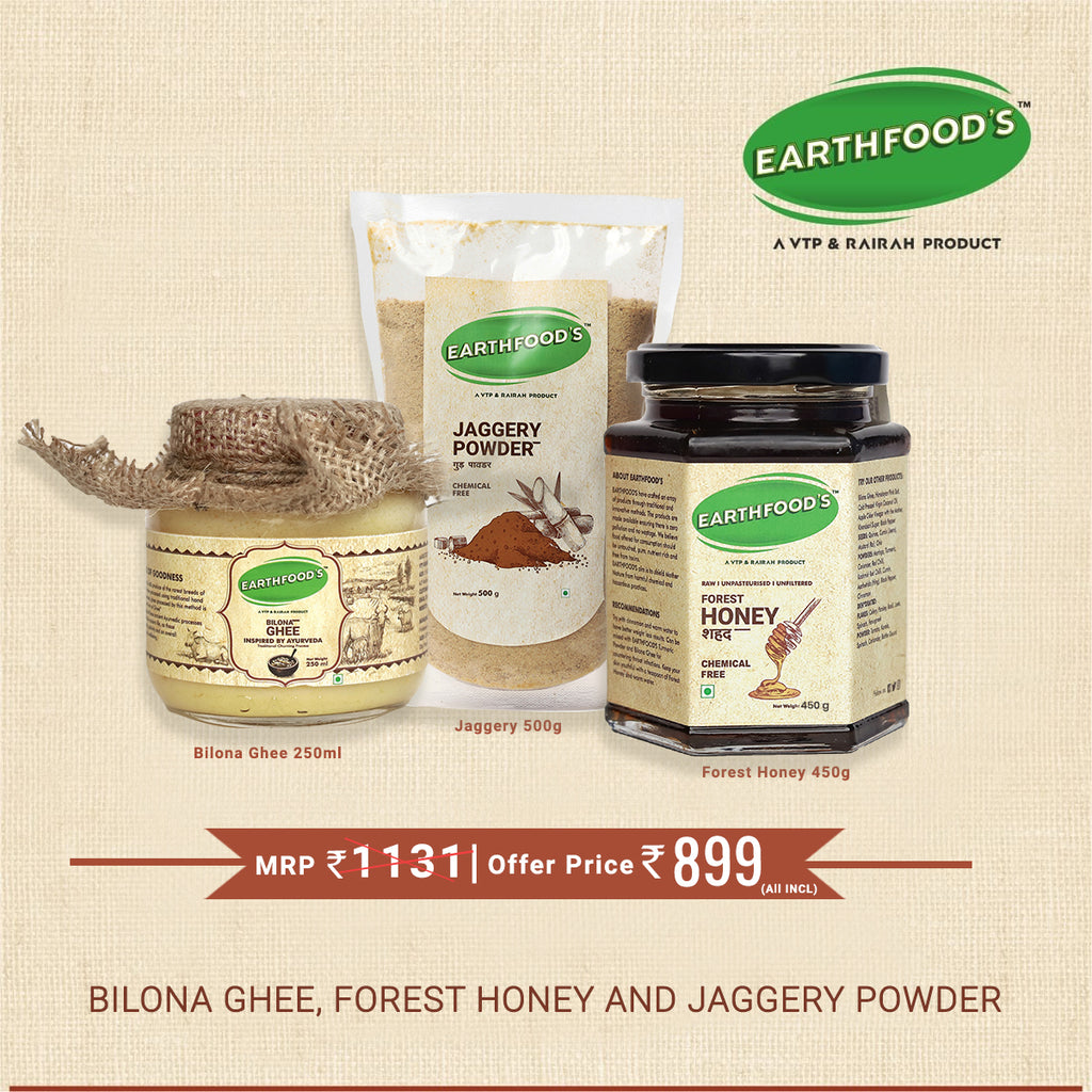 Bilona Ghee, Forest Honey and Jaggery Powder
