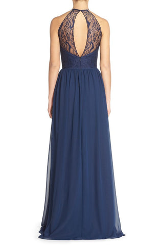 Navy lace and chiffon halter neck gown by Leah Rose  (online only)
