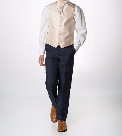 Boys swirl Gold waistcoat tie and trousers set