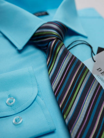 Turquoise Boys shirt and tie set