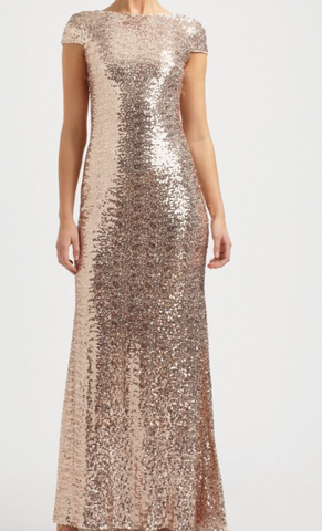 Amilia Gold Sequin Cowl Back Dress By TBL