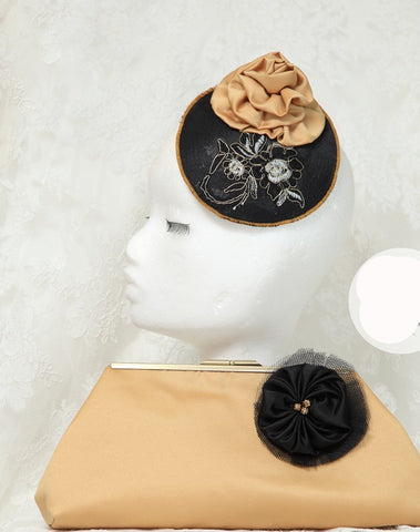 Black And Gold T.B.L Fascinator  And Matching Bag