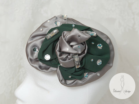 Silver And Emerald Green Fascinator By T.B.L