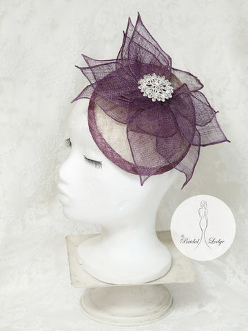Purple And Cream  Fascinator By T.B.L